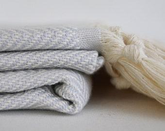 BathStyle / Herrigbone Turkish Beach BathTowel / Blue Gray /  Wedding Gift, Tea, Spa, Swim, Pool Towels