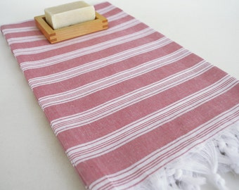 SALE 70 OFF/ Turkish Beach Bath Towel Peshtemal / Fuschia / Wedding Gift, Spa, Swim, Pool Towels and Pareo