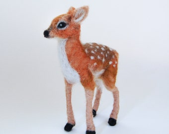 Needle Felted Fawn, Needle Felted Deer, Wool Felt Fawn Sculpture, Felted Fawns, Fawn Figurine, Needle Felted Animals