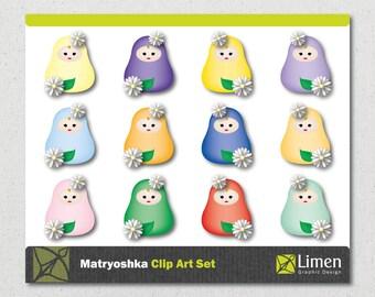 Nesting Dolls Clip Art, Matryoshka Clip Art, Russian Doll Clip Art, Matryoshka Clipart, Babushka Doll, Matryoshka Doll, Babushka Clip Art