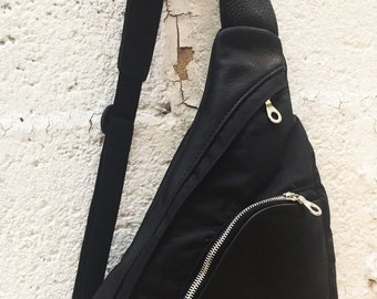 Leather Sling Bag, Leather rucksack, Leather backpack, Canvas or Canvas and leather - Sling Bag - Laurel Dasso