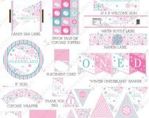 Girl Winter Onederland Birthday Printable - Winter Wonderland Decorations - Instant Download - Hot Pink & Aqua Winter Wonderland Party