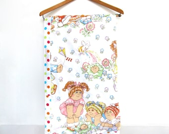 Vintage Cabbage Patch Kids Quilt Hand Tied Throw Twin Bed Pink Pastel Kids Childrens Room Decor 1980s Polka Dots Flowers Butterflies Bunny