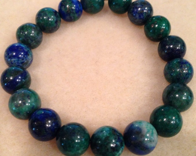 Azurite Malachite 11mm Round Bead Stretch Bracelet with Sterling Silver Accent