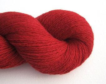 Cotton Nylon Wool Blend Recycled Yarn, Heavy Lace Weight, Red, Lot 111015