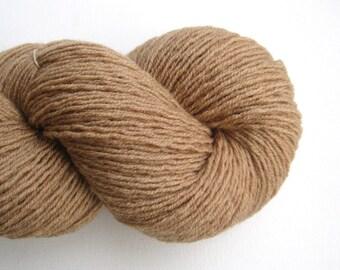 Fingering Weight Recycled Merino Wool Yarn, Tan, Lot 021115