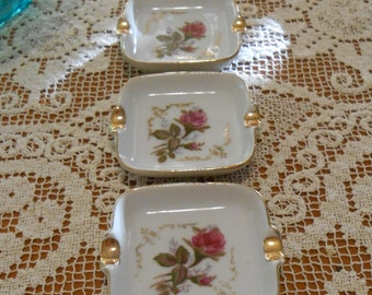 Vintage Trio Mini Fine China Rose Flower Ashtray with Gold Trim