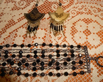 Black Glass Beaded Bracelet by White House Black Market plus unmarked Earrings
