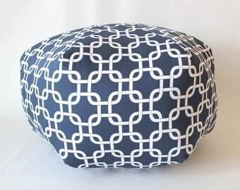 Navy Pouf / Nautical Pouf / large pouf / chain floor pouf - ottoman pillow - floor pillow - fabric floor cushion - Navy Floor pouf  - decor