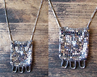 Vintage Chainmail Pendant | Mesh Pouch Necklace | Disco, Decodence Dancing Queen | Designer Eddie Borgo