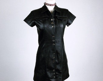 90's Faux Leather Goth Button Up Mini Dress // M