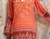 MEDIUM, Bohemian Hippie Dashiki Embroidered Orange Lightweight Cotton Dress/Long Top