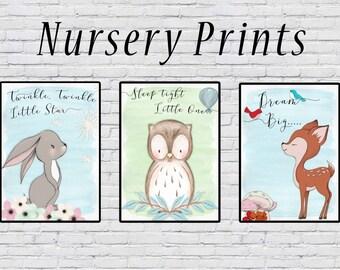 Woodland animal nursery prints, triple pack, nursery wall art, woodland animals, wall art, nursery decor