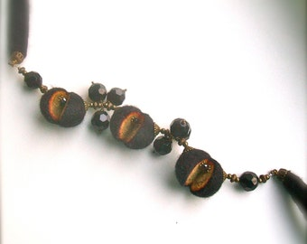 Felted necklace- Black necklace with brass and glass beads - Handmade- OOAK- Felt necklace with beads
