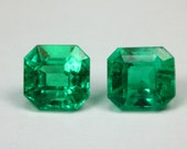 Traffic Halting! 1.77tcw Loose Natural Colombian Emerald Pair- Assher Cut