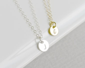 Tiny Initial Necklace/ Personalized Necklace/ Layered Necklace/ Dainty Disc Necklace/ Gold or Silver Tiny Initial Charm Necklace/ For Her