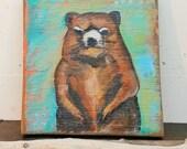 woodland creatures/ wookchuck/ farm wood/ distressed wood/ recycled wood farm art