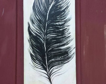 Feather painting/Black and white feather/ free range /hand painted/ original painting/  farm wood/ distressed finish