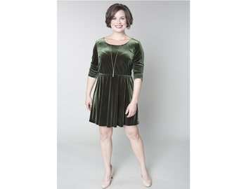 Velvet Fit and Flare Dress Customizable Length, Sleeve, and Neckline Misses & Plus Sizes 2-28