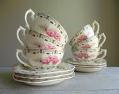 Coronation Rose Cups and Saucers by Thomas Hughes  Pattern 4857   Set of 6 Vintage Tea Cups   Cottage Chic