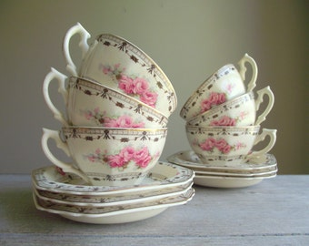 Coronation Rose Cups and Saucers by Thomas Hughes / Pattern 4857 / Set of 6 Vintage Cups and Saucers / Cottage Chic