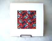 Original 5 x 5 Abstract Floral Painting in Dark Blue and Red Gouache Small Wall Size