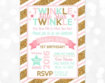 Girl Birthday Invitation – Twinkle Twinkle Little Star Birthday Invite Gold Glitter Coral Mint Printable Digital Download Invite (Item #5)