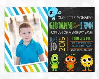 Monster Birthday Invitation Little Monster 1st Birthday Blue Green Boy Birthday Invite DIY Printable Invite PDF Birthday Invitation Boy (#5)