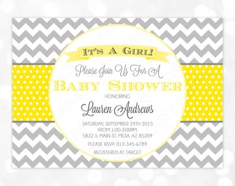 Girl Baby Shower Invitation - Baby Girl Yellow Gray Invite Chevron Polka Dot Invite It's A Girl DIY Printable Invite PDF (#68)
