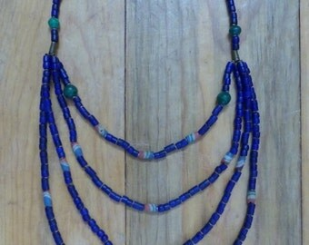 AUTUMN SALE Long Tribal, Cobalt Blue, Beaded Necklace With Malachite and Cobalt Beads BEAUTIFUL On!