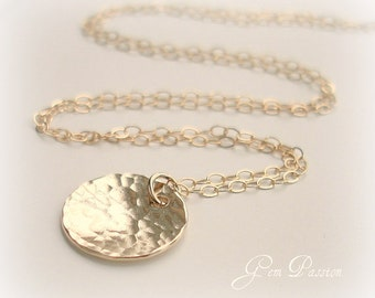 Hammered Gold Disc Necklace 14K Gold filled Handmade 1/2 inch Thick 20 Gauge Can Stamp with Initial See fonts
