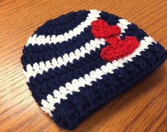Ahoy its a boy hat, Sailor hat, Nautical hat, baby boy hat, crochet hat for babies, crochet hat for toddlers, 12 month to 4t sizes available