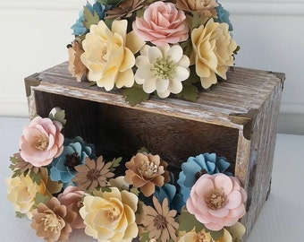 Cake Flowers - Flower Wedding Cake - Paper Flowers - Cake Flowers - Cake Topper and Mini Stemmed Cluster Set -  Customized
