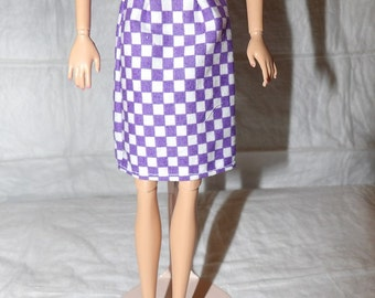 Fashion Doll Coordinates - Purple & white checked skirt - es388