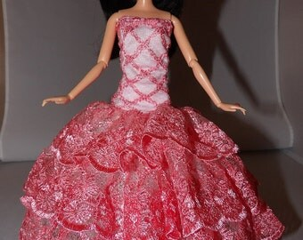 Red Carpet Collection - Pink lace mermaid style formal dress with Tulle slip for Fashion Dolls - ed781