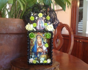 Religeous Virgin with Milagros Nicho, Shrine, or Altar Piece.