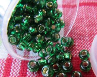 Green Glass Seed Beads 6/0
