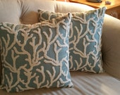 1 pillow cover in aqua, blue with ivory coral motif in raised embroidery. 18x18, 20x20