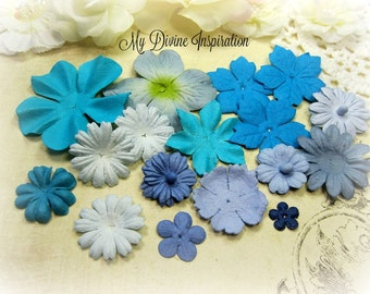 18 Prima Mulberry Paper Flowers in Blue, Turquoise, Light blue for Scrapbooking Cards Mini Albums and Paper Crafts