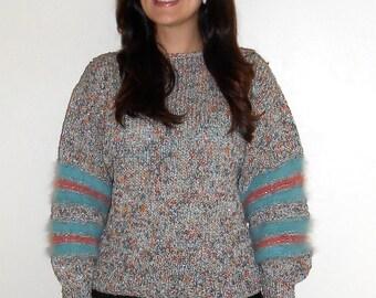 Vintage 1980s oversized metallic knit & angora blue and pink sweater, size Medium / Large
