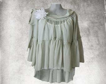 Women blouse celery green/Removable flower brooch/Tail back/long sleeve shirt/Wide neck/Off shoulder/adjustable bow