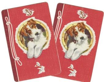 SKIPPER Porthole Puppy (2) Vintage Single Swap Playing Cards Paper Ephemera Scrapbooking