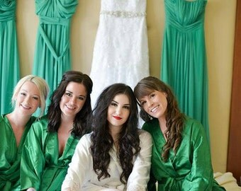 Bridesmaid Robes Green wedding robe bridesmaid silk robe dressing gown personalized silk robe kimono robes floral flower girl robe cheap