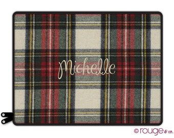 "FLANNEL PLAID personalize laptop sleeve 13"" or 15"" - with monogram - elastic tabs give you the option to keep the sleeve on while you work"