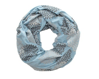 INFINITY SCARF - Screen Printed - Gray Double Flowers on Cornflower Blue