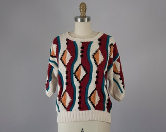 1980s Vintage Geometric Hand Knit Short Sleeve Sweater (M)