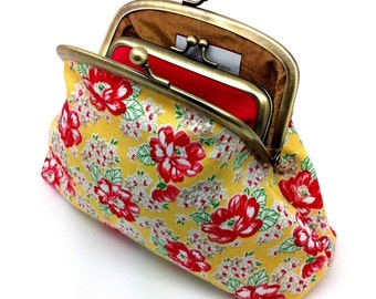 Yellow Kiss lock Clutch Coin Purse Wallet Red Flower Gold Silk Gift for Women Double Metal Frame