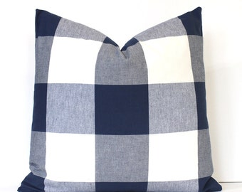 Large Navy Blue Check Designer Pillow Cover Accent Throw Cushion tartan modern farmhouse country cabin rustic holiday plaid gingham
