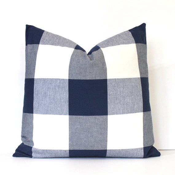 Large Blue Throw Pillows : Large Navy Blue Check Designer Pillow Cover Accent Throw