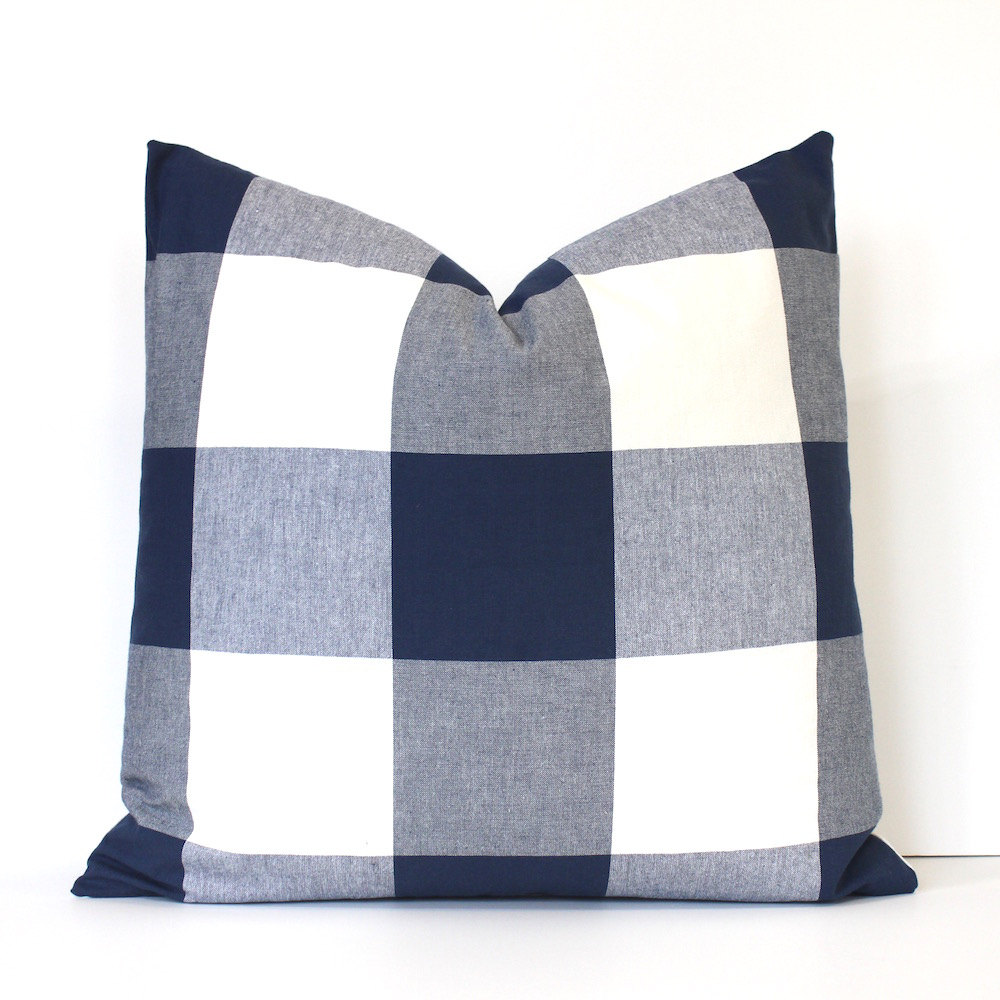 Oversized Decorative Pillow Covers : Large Navy Blue Check Designer Pillow Cover Accent Throw